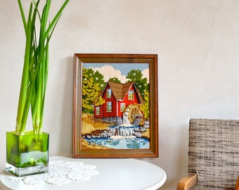 Vintage Needlepoint in Frame Sweet Little Country Scene Red House w/ Water Wheel