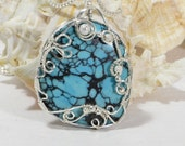 wire wrapped stone, Wire Wrapped Pendant   Wire Art Silver Pendant Southwestern Jewelry