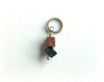 SALE Tiny Galaxy Brass Pendant Charm Unique Stone Dangle / Earthy Dark Auburn Brown Black, Cube Astronomy Abstract Modern Jewelry