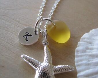 Yellow Sea Glass Starfish Necklace Personalized Stamped Initial Yellow Wedding Bridesmaid Jewelry Beach Glass Beach Bridesmaids Gifts