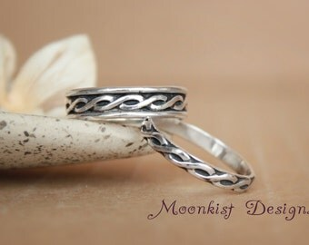 Narrow and Wide Celtic Endless Knot Pattern Wedding Band Set in Sterling - Silver Anniversary Bridal Band Set - Promise Band Set