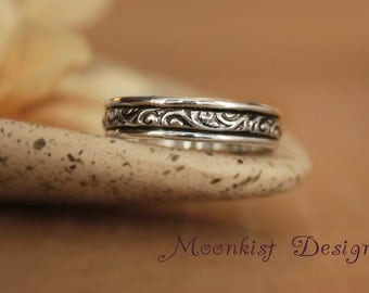 Wide Pattern Wedding Band in Sterling - Silver Smoke Swirl Pattern Wedding Ring - Anniversary Bridal Wedding Band - Engravable Band