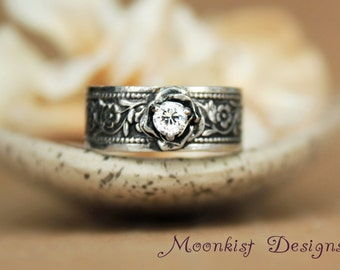 White Sapphire Rose Ring in Sterling Silver with Daisy Chain Floral Band - Unique Engagement Ring or Promise Ring - Choose Your Stone
