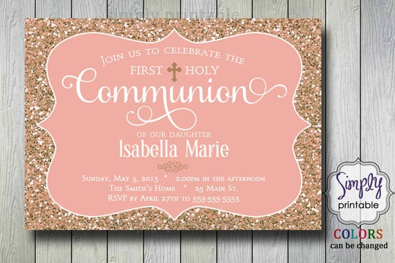 Baptism/Communion Invitation -Rose  Gold Glitter