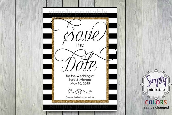 Save the Date Gold, White Black
