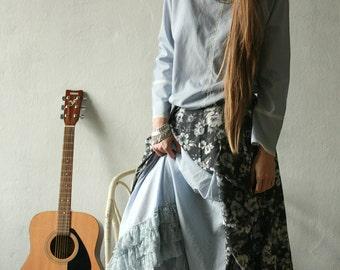 Gypsy light blue cotton and lace ruffled hem petticoat
