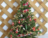 "Decorated Table Top Country Small Christmas Tree Red White Wood 19"" Decorated Tree SnowNoseCrafts"