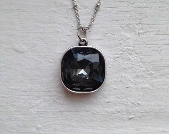 Square Rhinestone Necklace, Black Rhinestone Necklace, Black Rhinestone, Statement Necklace, Jewelry, J Crew Necklace, Jcrew black Necklace