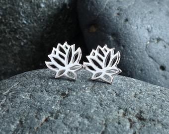 Lotus Stud Earrings Flower Girl Gift Lotus Post Earrings  Sterling Silver Lotus Jewelry Dainty Lotus Charm