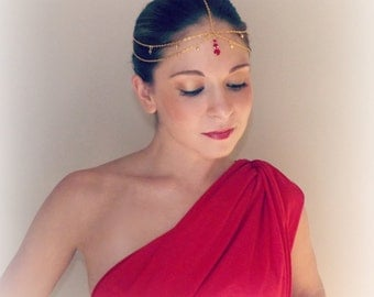 Golden Wedding Goddess Head Chain - Red and Gold Siam swarovski crystal Head Dress Bindi -Hair Jewelry- Egyptian Princess Bollywood Ruby
