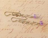 Earrings Handmade Wire Work Delicate Purple Silver