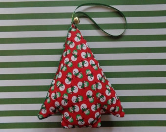 Snowman Print Fabric Christmas Tree Ornament by Pepperland