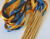 Satin Wedding Ribbon Wands - Custom Colors - Pack of 50 - Shown in Deep Gold and Smoke Blue- Unique Ceremony Exit Idea