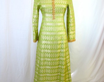 1960s 70s Malcolm Starr Lime Gold Lame Evening Dress