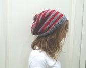 RED and GRAY  knitted Slouchy Beanie Autumn Winter Fall Fashion striped beanie