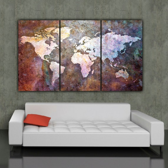 World map art on canvas multi color 3 panel large canvas like this item gumiabroncs Gallery