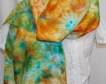 Hand Dyed Silk Scarf  Hand painted Scarf -  Turquoise, gold, persimmon Habotai Silk Batik women's fashion