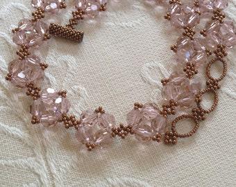 Bridal Rose crystal collar necklace, crystal necklace, beadwoven collar, beadwork statement necklace, bridal jewelry, crystal collar, EBW