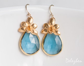 London Blue Topaz Earrings - Flower Earrings -  Gemstone Earrings - December Birthstone Jewelry - Gold Earrings - Drop Earrings