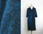 1960s shimmering blue and black 3/4 sleeve length midi dress, size  medium