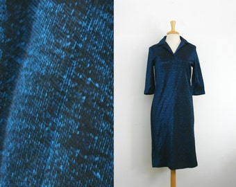1960s shimmering blue and black 3/4 sleeve length midi dress, size  medium