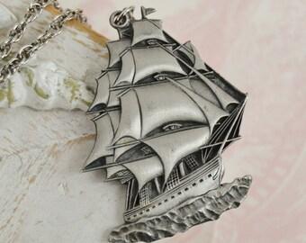 Vintage 1976 Nautical Ship Pewter Pendant Necklace