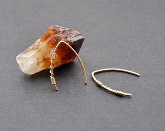 "Gold Arc Earrings, 14K Gold Filled Hoop, Open Gold Hoop, Minimal Minimalistic Jewelry, Miniature Gold V Earrings, 3/4"" & 1"""