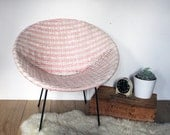 Vintage Retro 1960s Bucket Chair - Pink & White Woven