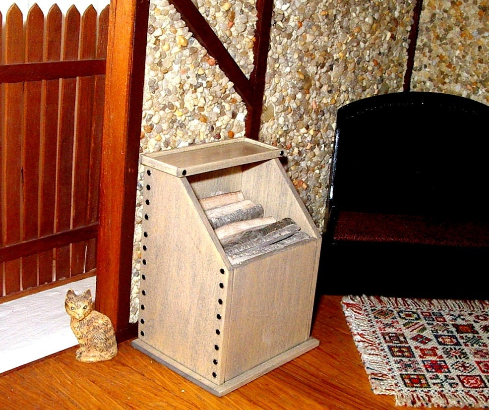 Firewood Box Rustic Medieval Dollhouse Miniature 1/12 Scale