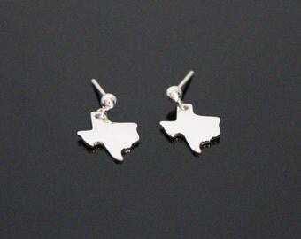 Texas Earrings, State Earrings, Texas Jewelry, Texas Stud Earrings, Texas State Earrings, Sterling Silver, Silver Texas Earrings, BeadXS
