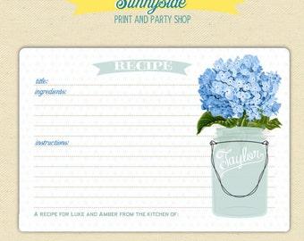 Recipe Card with Mason Jar - You choose flower - Printable Digital Mason Jar Recipe Card