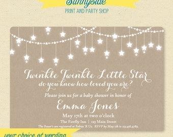 Printable Twinkle Twinkle Baby Shower Invitation - Gender Neutral Star Baby Shower Invite - Kraft / Rustic