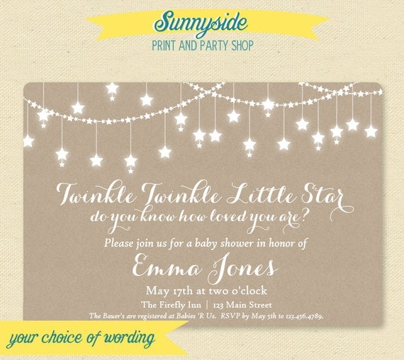 Printable Twinkle Twinkle Baby Shower Invitation - Gender