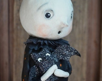 Ghostly Guy Halloween Folk Art Paperclay