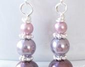 Pearl Earrings,Mauve Bridesmaids Earrings,Graduated Pearls,Burgundy Earrings,Pearl Bridesmaid Earrings,Swarovski Pearls,Bridal Party Jewelry