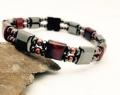 Unisex RED TIGERS EYE Hematite Magnetic Therapy Bracelet/Anklet Genuine Copper Accents Dual Strand Custom Sized