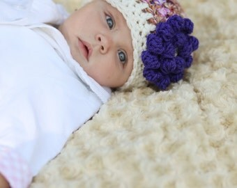Crochet Baby Hat - Purple Newborn Hat - Photo Prop - Crochet Baby Beanie - Infant Baby Girl Hat