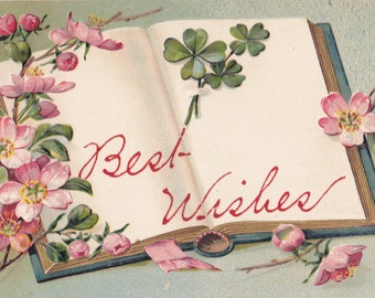Best Wishes- 1900s Antique Postcard- Cherry Blossoms and Lucky Four-Leaf Clover- Open Book- Edwardian Greeting- Paper Ephemera- Used