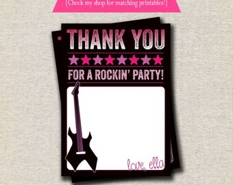 Rock Star Thank You Card - pink purple | Rock Star Party Printables