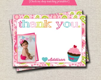 Cupcake Thank You Card | Bright Cupcake Thank You Card | Paisley Thank You Card | Cupcake Party Printables