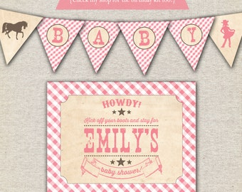 Cowgirl Baby Shower printable invitation, thank you card, banner, sign, party circles, favor tags, food drink labels