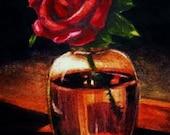 Red Rose In A Vase , Tiny Original Art , Watercolor