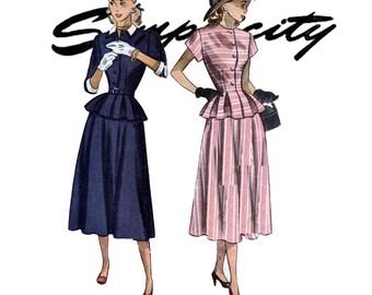 1940s Dress Pattern Bust 30 Simplicity 2321 Two Piece Peplum Evening Jacket & Skirt Detachable Collar Cuffs Womens Vintage Sewing Patterns