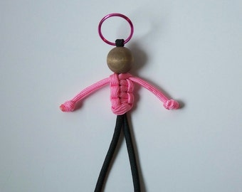550 Paracord Person, Pink and Black, Geocaching Swag, Key Fob, Birthday Party Swag, Stocking Stuffer
