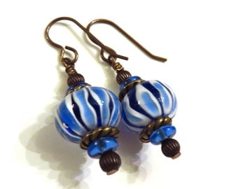 Blue Striped Lampwork and Brass Earrings, Blue Earrings, Blue Lampwork Earrings, Brass Earrings, Striped Earrings, Lampwork Jewelry
