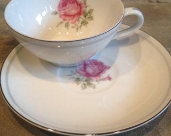 Vintage Imperial Rose 6702 Tea Cup Set Fine China Teacup Japan - #2403
