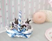 Little Easter Basket - Miniature Dollhouse Easter Basket - Miniature Art Doll Easter Egg Basket - Dollhouse Miniature Easter Egg Home Decor