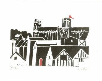 York Minster Linocut - Printmaking - Gothic Cathedral Print - Yorkshire Medieval Church, UK , Black and Red Bird, Contemporary Art