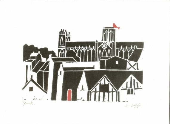 York Minster Linocut - Printmaking - Gothic Architecture - Cathedral Print - Yorkshire Medieval Church, UK ,  Contemporary Art - Signed