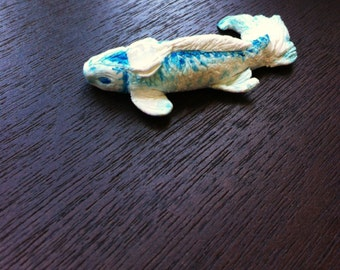 Miniature Koi Fish with Rainbow Moonstone blue and white painted clay
